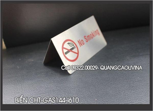 Biển no smoking inox, chữ A