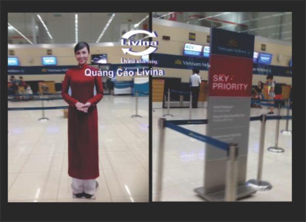 Biển mô hình cô gái vietnam airline , Standee quảng cáo