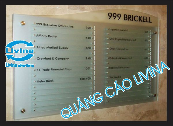 Biển chỉ dẫn toà nhà mẫu Brickell 999