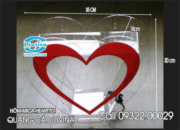 Hòm mica hình trái tim-HEART701