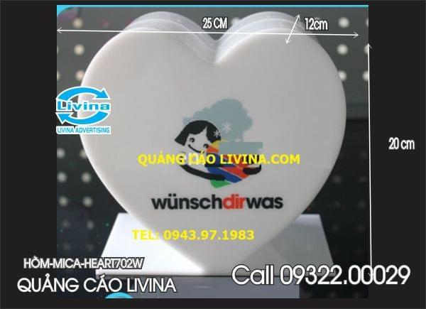 Hòm mica hình trái tim-HEART702W