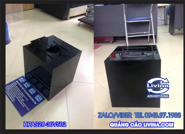 Thùng từ thiện mica đen Kích thước 30 cm (vuông) Mã HPAS28
