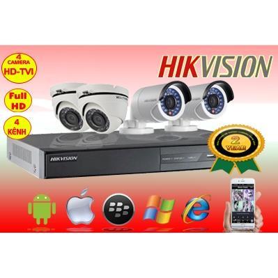 Trọn bộ 4 Camera hikvision hd tvi 1MP