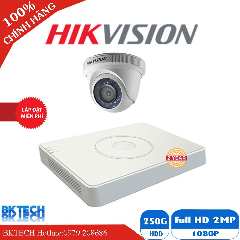 Lắp Đặt Trọn Bộ 8 Camera Giám Sát HIKVISION FULL HD 8BK-2CE16D0T
