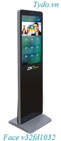 Máy chấm công nhận diện khuôn mặt kết hợp vân tay ZKTeco FaceKiosk-V32 FD1032V 32 upright