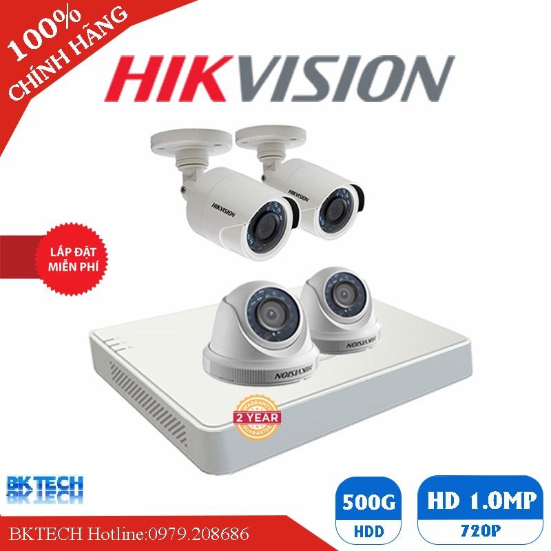 Lắp Đặt Trọn Bộ 4 Camera Giám Sát HIKVISION HD BK-4CEC0T