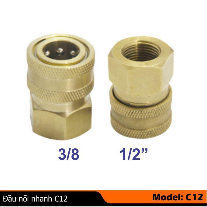Cút nối nhanh C12( 3/8, 1/2 inh) kiểu đầu cái