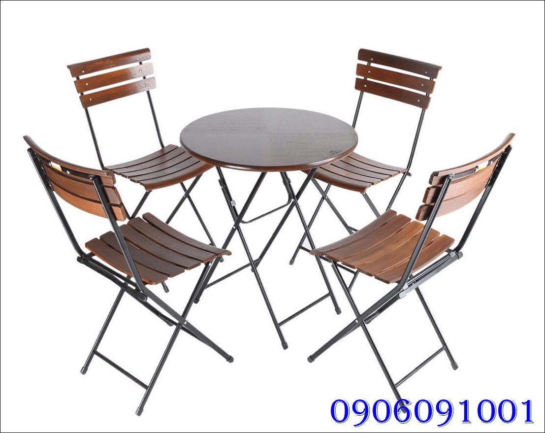 Bàn ghế chân sắt mặt gỗ 1911