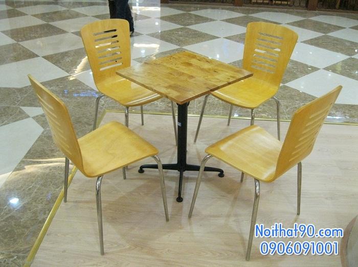 Bàn ghế chân sắt mặt gỗ 0571