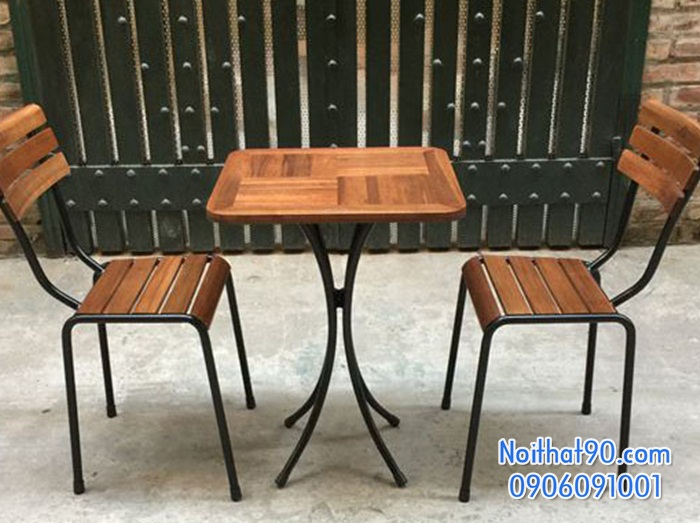 Bàn ghế chân sắt mặt gỗ 2591