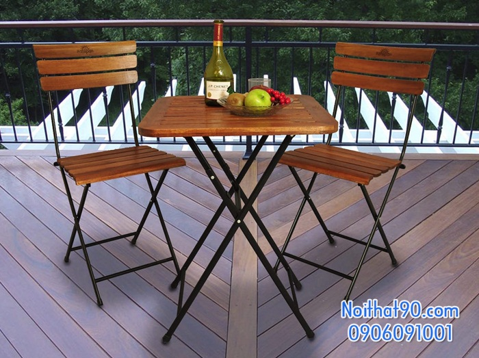 Bàn ghế chân sắt mặt gỗ 2593