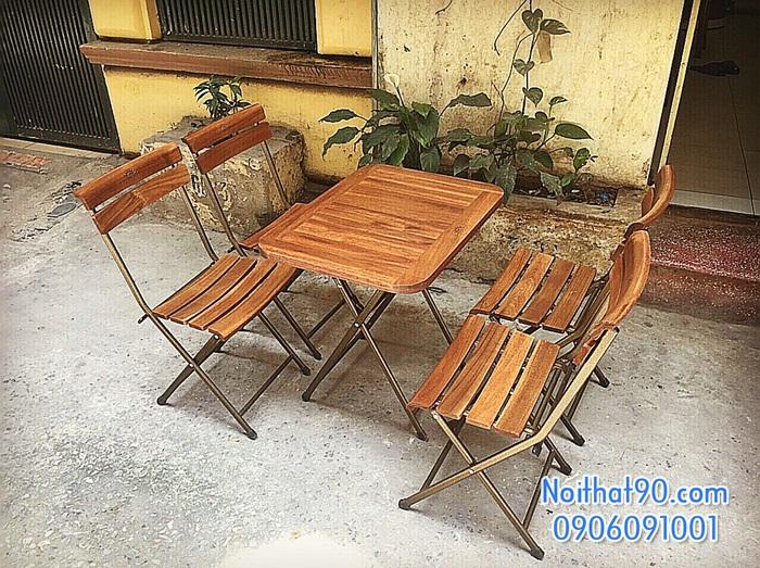 Bàn ghế chân sắt mặt gỗ 3536