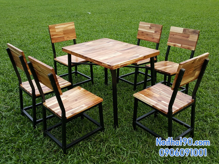 Bàn ghế chân sắt mặt gỗ 3404