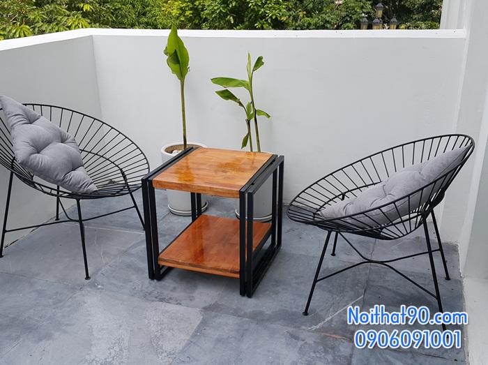 Bàn ghế chân sắt mặt gỗ 5410