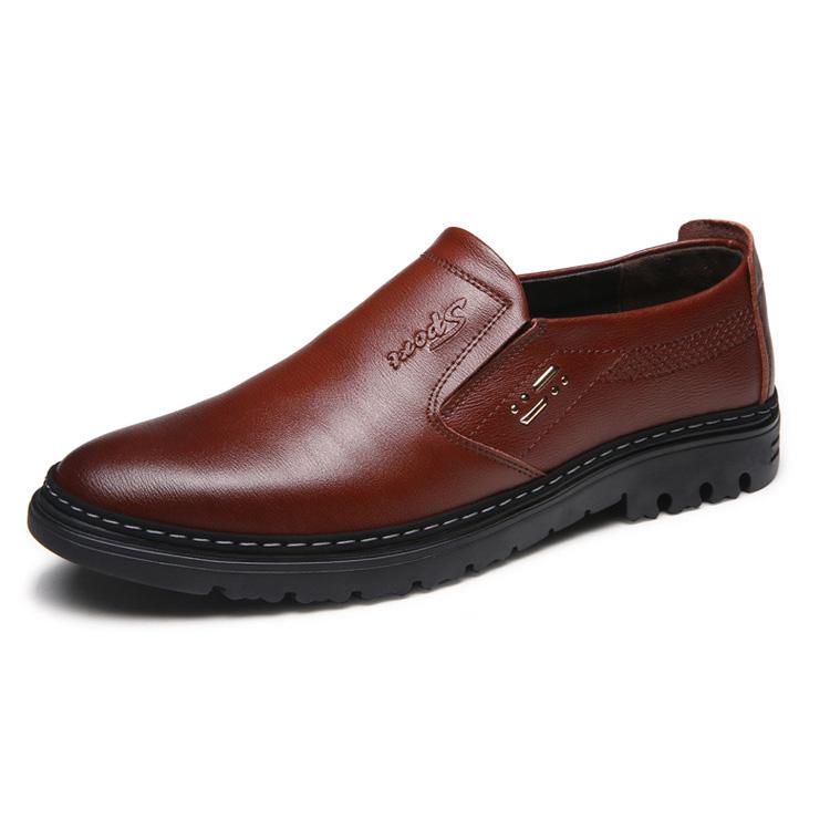 Giày lười da bò nam trung niên - GB012 màu nâu đậm