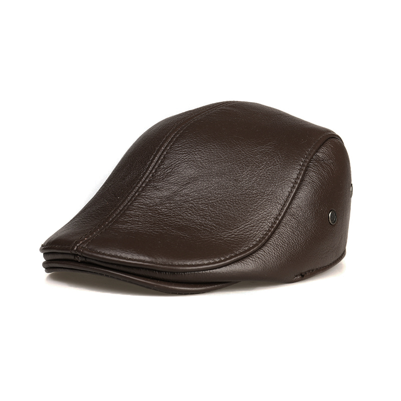Mũ beret nam trung niên da bò M107
