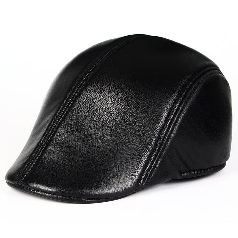Mũ beret nam trung niên da dê M110