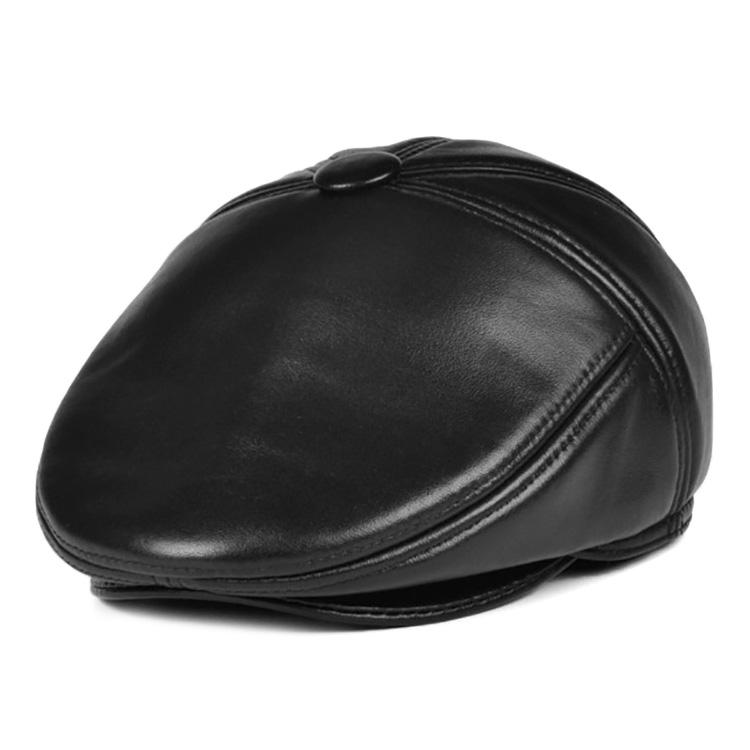 Mũ beret nam trung niên da dê, có bịt tai - Mã M115
