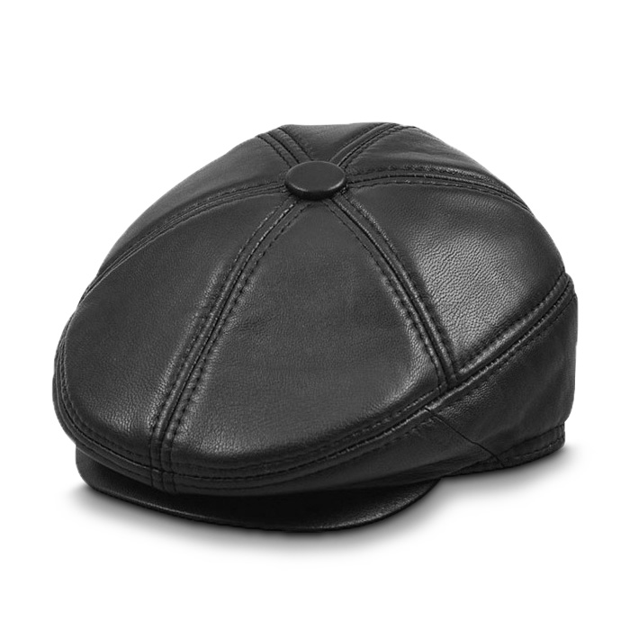 Mũ beret nam trung niên da dê, có bịt tai - Mã M111