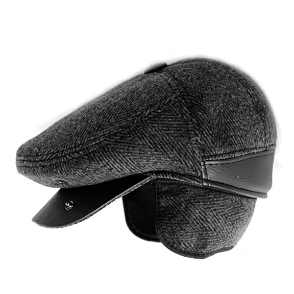 Mũ beret nam trung niên vải dạ, có bịt tai - Mã M405