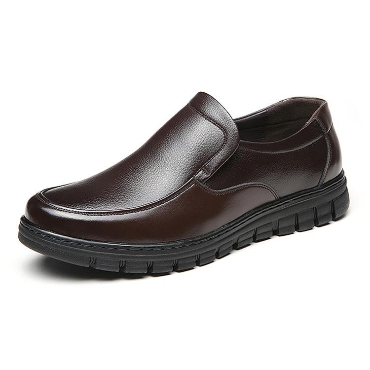 Giày lười nam trung niên da bò - Mã GL031 màu nâu
