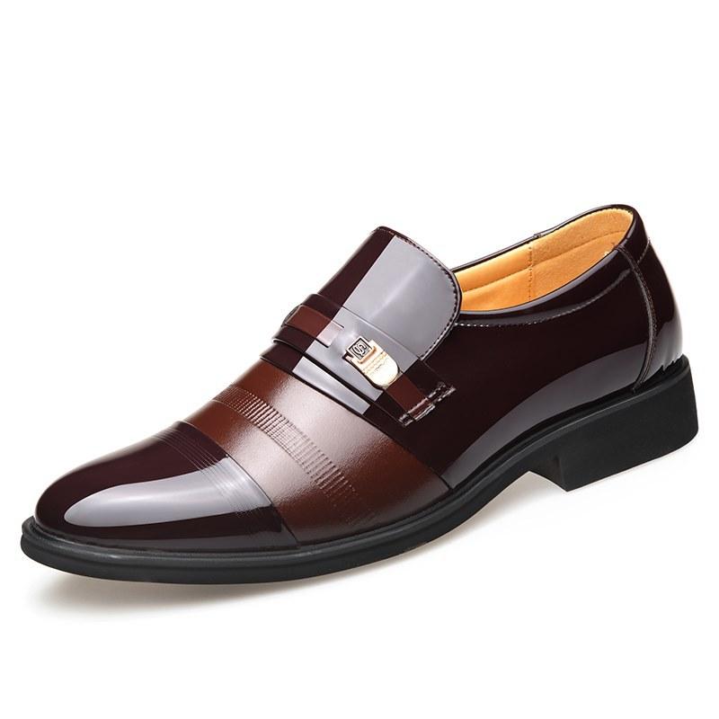 Giày công sở nam trung niên, da thật phủ bóng - Mã CG005 màu nâu
