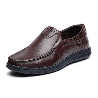 Giày lười nam trung niên da bò - Mã GL032 màu nâu