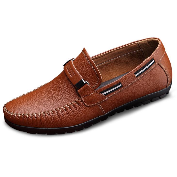 Giày lười nam trung niên da bò - Mã GL028 màu nâu