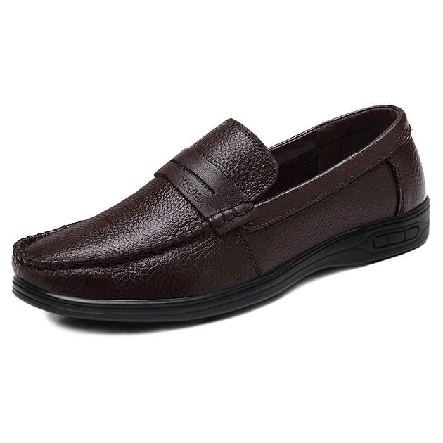 Giày lười nam trung niên da bò - Mã GL025 màu nâu