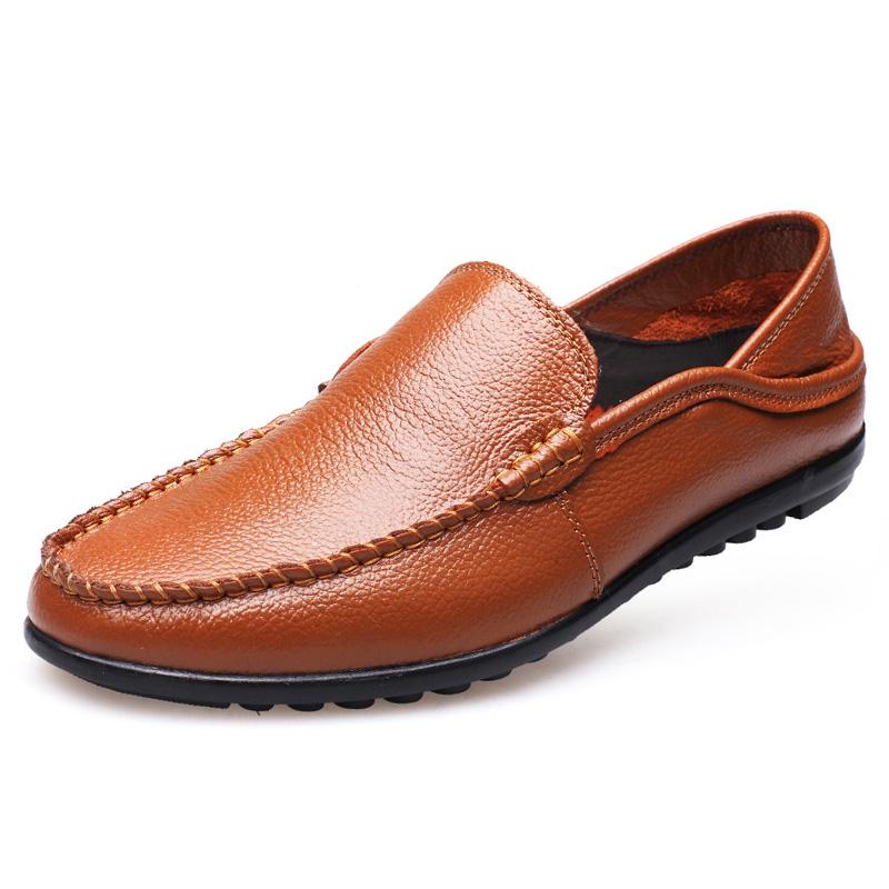 Giày lười nam trung niên da bò - Mã GL030 màu nâu