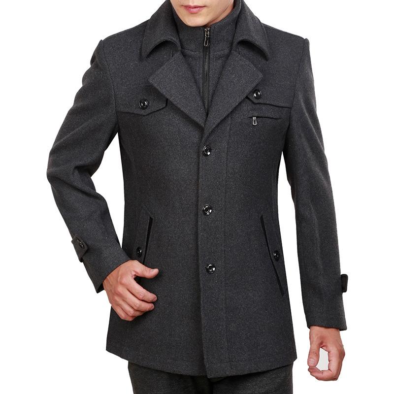Áo khoác nam dáng mangto vải dạ cao cấp SC67 - Màu xám