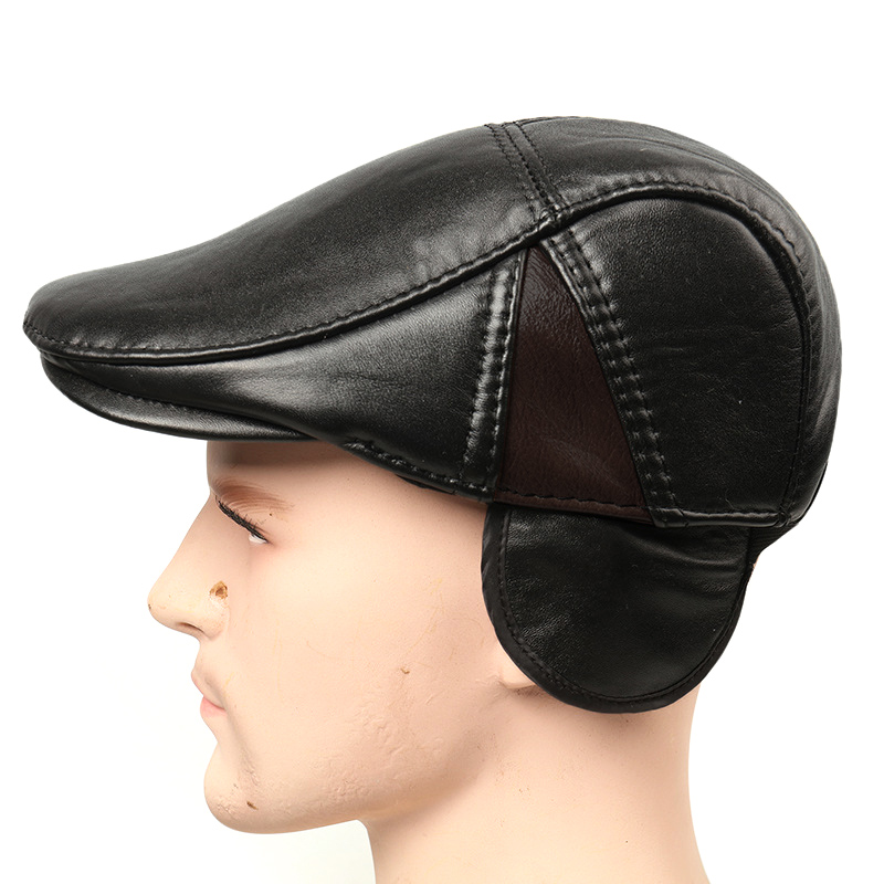 Mũ beret nam trung niên da dê M108 - Màu đen