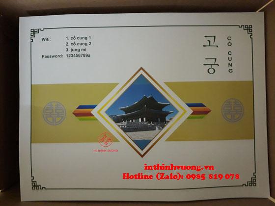in giấy lót bàn ăn cho nhà hàng Hàn