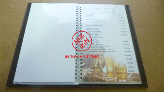bán menu bìa da