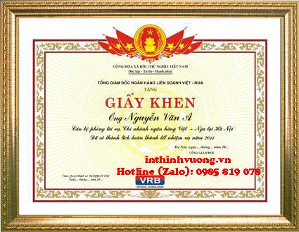Khung giấy khen giá rẻ ở Hà Nội