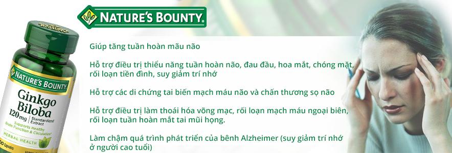 Thành phần viên uống bổ não ginkgo biloba natures bounty