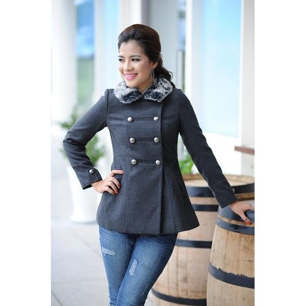 Áo khoác nữ Sensorial tay dài cổ lông cừu CT0011