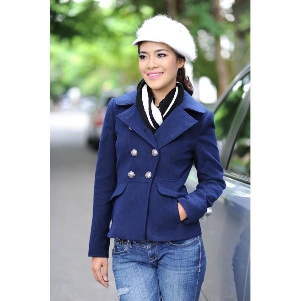 Áo khoác nữ Sensorial cổ sen màu xanh lam CT0009- 01