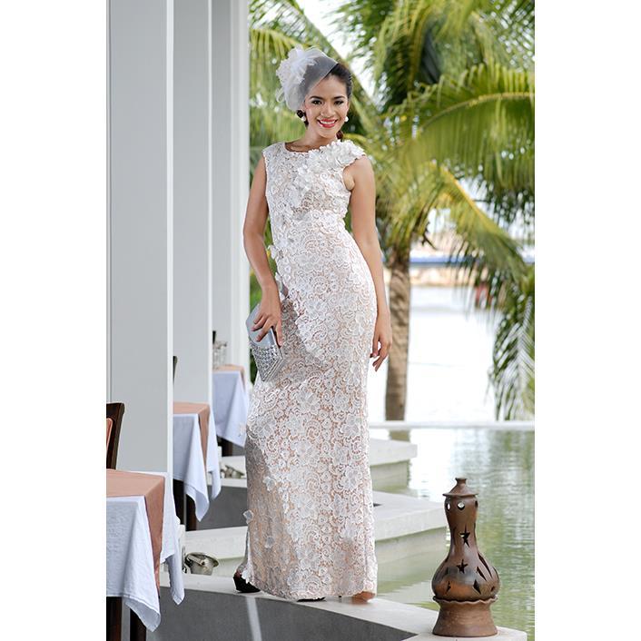 Đầm Dạ Tiệc Cao Cấp Ren Hoa Bướm Sensorial DRP0081-07 - Màu Trắng