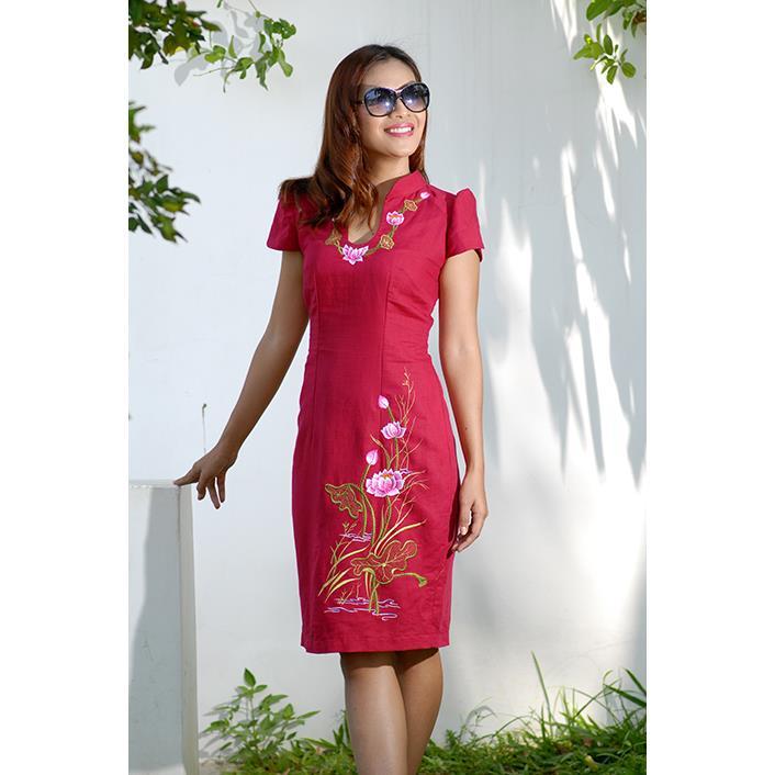 Đầm Linen Trung Hoa DRCT0144-09