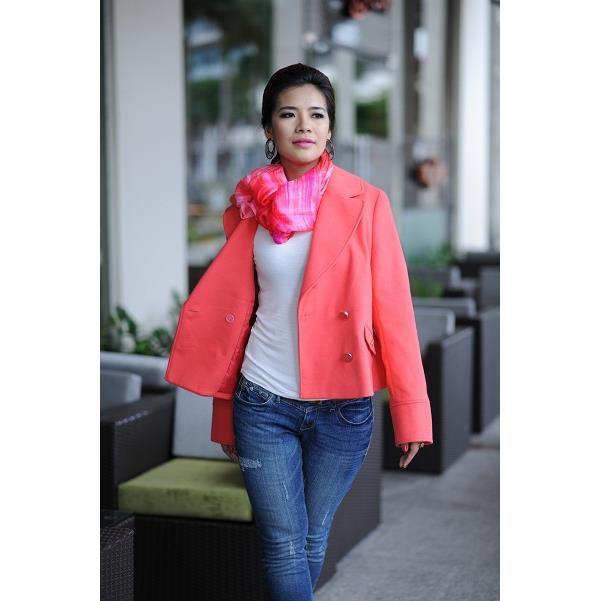 Áo khoác nữ Sensorial màu hồng cam cổ vest tay dài CT0023