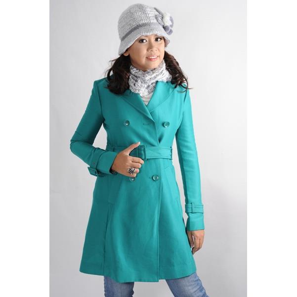 Áo khoác nữ Sensorial màu xanh ngọc phối thắt lưng CT0026