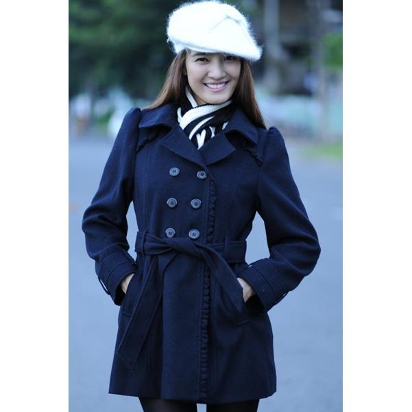 Áo khoác nữ Sensorial màu xanh đen viền bèo CT0001.