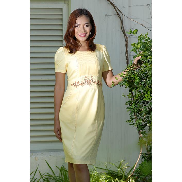 Đầm Linen Thêu - Vai Dập DRCT0122A-05