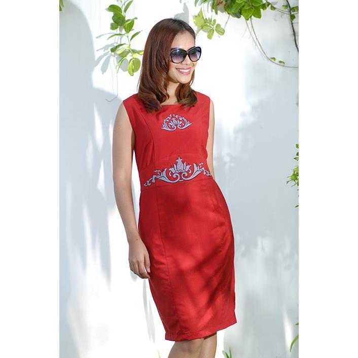 Đầm Linen 2 Túi Thêu Hoa Sen DRCT0122B-09