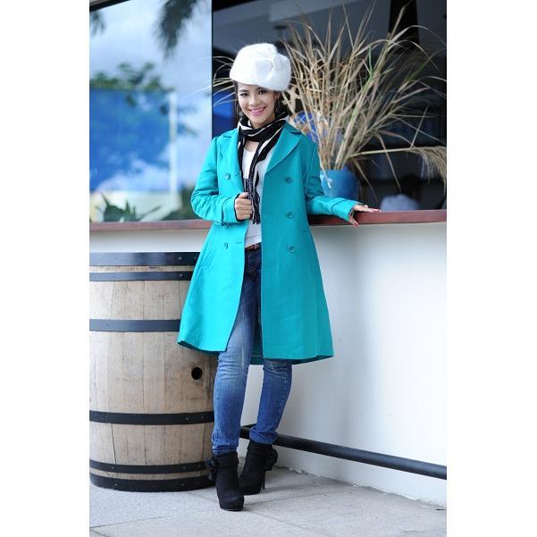 Áo khoác nữ Sensorial màu xanh ngọc phối thắt lưng