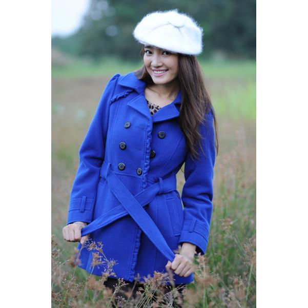 Áo khoác nữ Sensorial màu xanh dương viền bèo CT0001