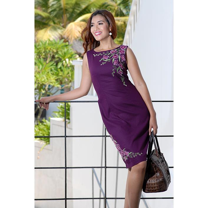Đầm Linen Thêu Hoa DRCT0043-13