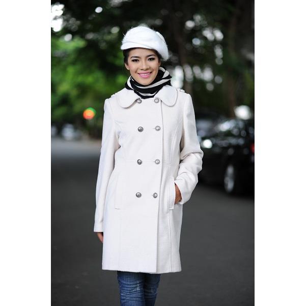 Áo khoác nữ Sensorial màu trắng kiểu măng tô 8 nút