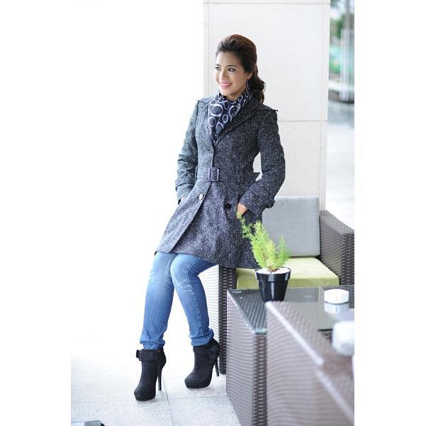 Áo khoác nữ Sensorial màu xám chấm bi AD0001